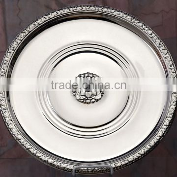 Silver plated Round dish tray , Decorative food tray, Airlines tray, Arabic metal trays, Party food service trays, Wedding tray