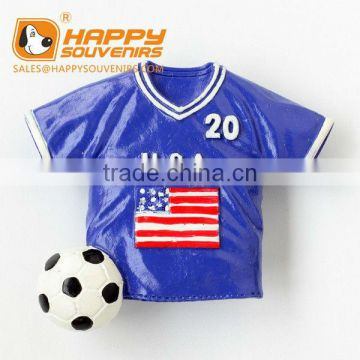 Polo shirt custom resin magnet for souvenir,soccer ball shirt 3D resin fridge magnets
