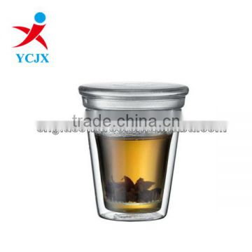TRANSPARENT DOUBLE WALL GLASS TEA CUPS WITH SEALED CAP