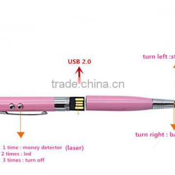 6 in 1 Multi Function stylus touch Pen , USB ball Pen with led light and laser