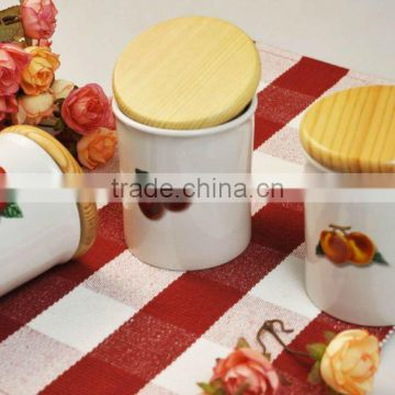 3pcs canister set with wooden lid