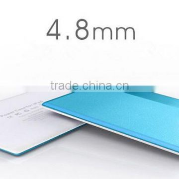 2014 Ultra-thin 4.8mm credit card size power bank with built in charge cable slim power banks made in china