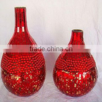2017 New colored mosaic glass vase cylinder in serie