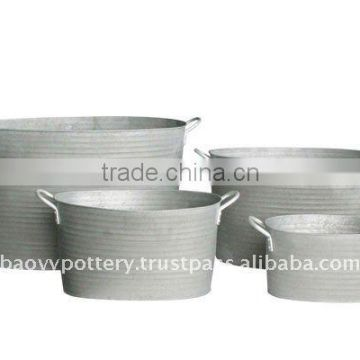 AYM Galvanized zinc vase,Galvanized zinc watering can , Zinc Pot Planter, zinc planter for gardening and household