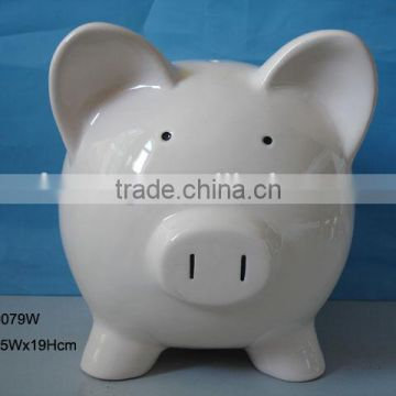 Hot Sales Cheap Ceramic White Piggy Coin bank for Promotion Gift