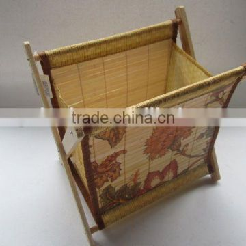 Foldable non-woven with wooden holder storage box