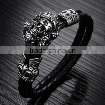 New trending skull style stainlesss steel genuine leather bracelet men