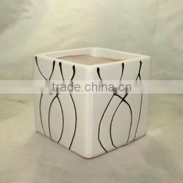 Attractive Line Pattern Square Ceramic Flower Pots