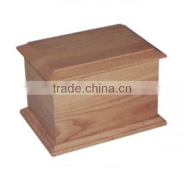cremation wooden urn in European square in funeral supplier