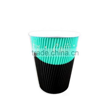 7oz 6.5oz 200ml Double Wall Ripple Type Disposable Paper Coffee Cups for Coffee Hot Drinks with Covers