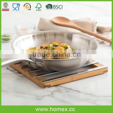 Hot Resistant Bamboo Coaster with Steel/Bamboo Trivet/Homex_FSC/BSCI Factory