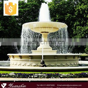 outdoor large white stone carving waterfall fountain