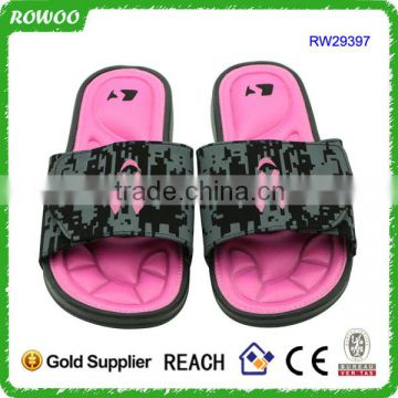 Pink/Black PU Upper and Women Gender women's slippers