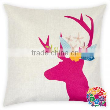 Christmas Santa And Deer Head Print 100% Cotton Pillow Covers Sofa Decorative Christmas Pillow Covers