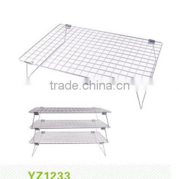 metal wire mesh bread cooling rack,3 tiers Bakery Metal Cooling Rack