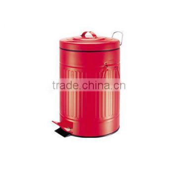 20 Litre Red Retro Plastic Lining Kitchen Pedal Waste Rubbish Dustbin Bin
