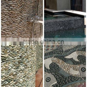 Polished Pebble Stone Standing Pebble Tile Pebble Wall Tiles