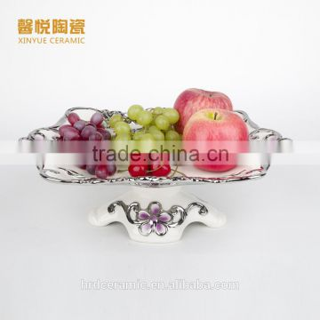 Stock ceramic candy dish golden ,ceramic plate ,silver golden fruit tray