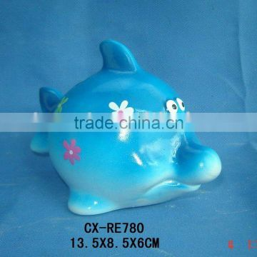 Ceramic Fish Figure Coin Bank