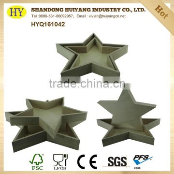 unfinished wholesale serving wooden tray with star shape