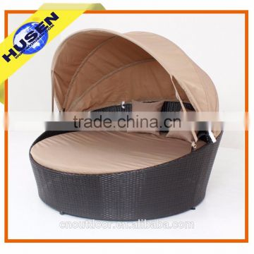Outdoor High Quality Rattan Wicker Round Daybed With Canopy