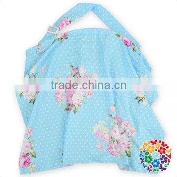 Beautiful Flower Printed Light Blue White Dots Cotton Fabric Baby Nursing Cover ,Baby mum Breastfeeding Poncho Cavers