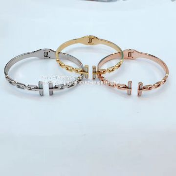 Customize Gold Rose Gold Silver Vacuum PVD Plating 316L Stainless Steel Bracelets Bangles Esposas For Men Womens
