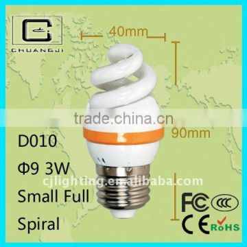 D010 durable 9MM Small Full Spiral 110-220V energy saver bulbs prices