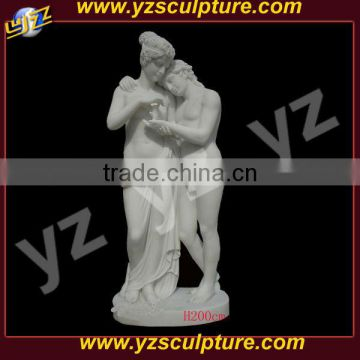 outdoor decoration carved white marble mother and daughter statue