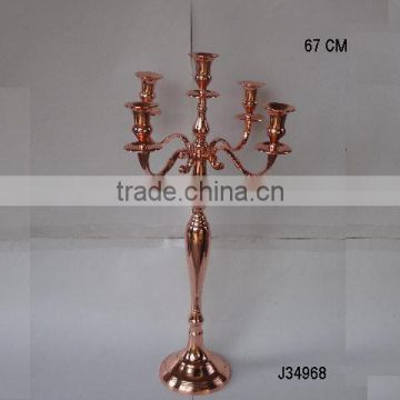 Shinny copper finish cast Aluminium table wedding Candelabra also available in other finishes
