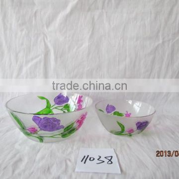 hand painted flower shaped glass bowls