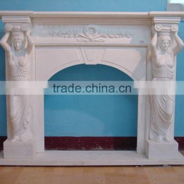 white marble indoor freestanding fireplace mantel with lady statue NTMF-F835S