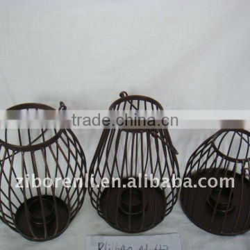 glass lantern metal baskets for hanging for garden decoration