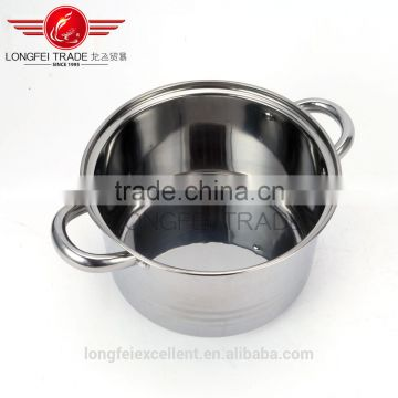 best selling new shape glass lid 5pcs stainless steel camping pot/cooking pot