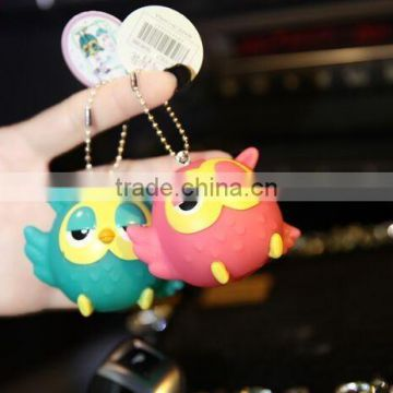 Lovely Cartoon 3D Soft Pvc Keychain,Custom Promotional Soft PVC Rubber Cartoon Keychain,Mini owl plastic keychains