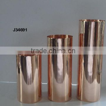 Copper Cylindrical Vase with Mirror polish and also available mat finish and brass metal also available