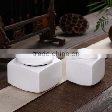 White galazed ceramic funeral pet ashes urns