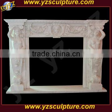 Cultured Western White Marble Fireplace Mantel with Two Women