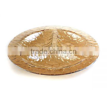 hot sale elegant gold salad plate for holiday cheap glass plate for party