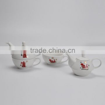 ceramic stackable teapot with customized decal,promotional items