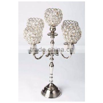 silver plated crystal ball candelabra for wedding