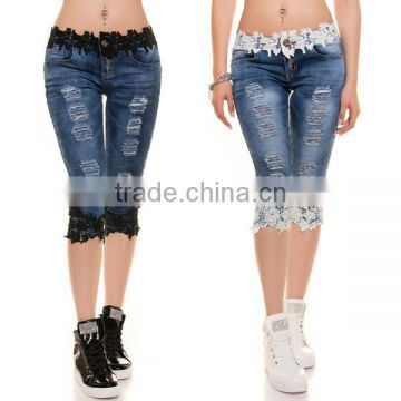 Women lace jeans europe style torn stretch denim shorts