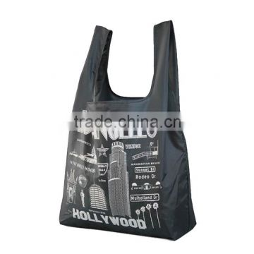 hot sale popular style customized logo black polyester foldable shopping bag                                                                                                         Supplier's Choice