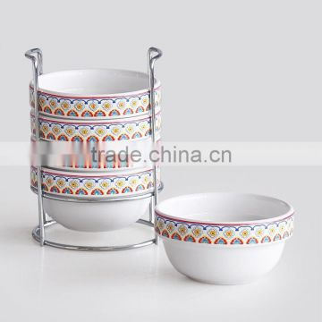 set of 6pcs ceramic bowl with metal rack