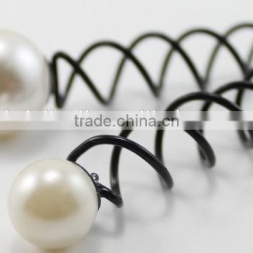 Personalized hairpin black Hair Stick Vintage Pearl Spiral Hairpin