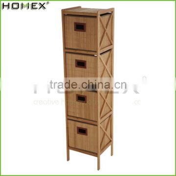 Bamboo Bathroom Storage Shelf Rack with 4 Drawers/Shower Shelf Tower/Homex_FSC/BSCI Factory