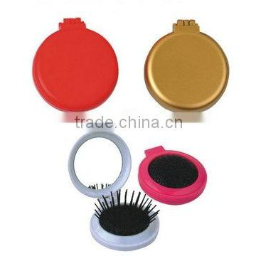 Folding plastic round shape make up mirror with comb