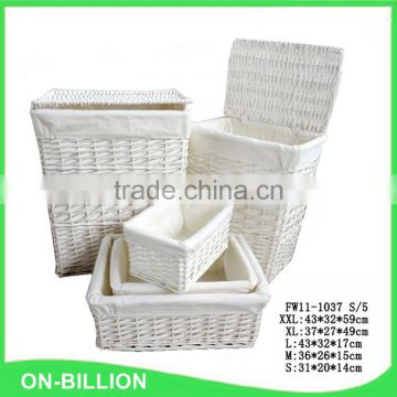 Set 5 white wicker laundry basket with fabric liner