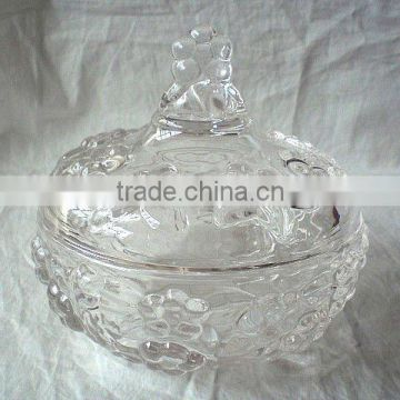 Customized different sizes factory price glass candy jar with glass lid For Box Packing