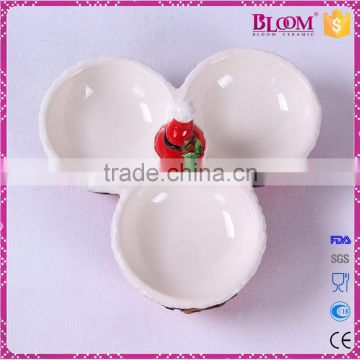 High quality red christmas ceramic candy dish